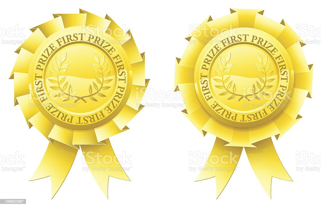 Gold first prize rosettes royalty-free stock vector art