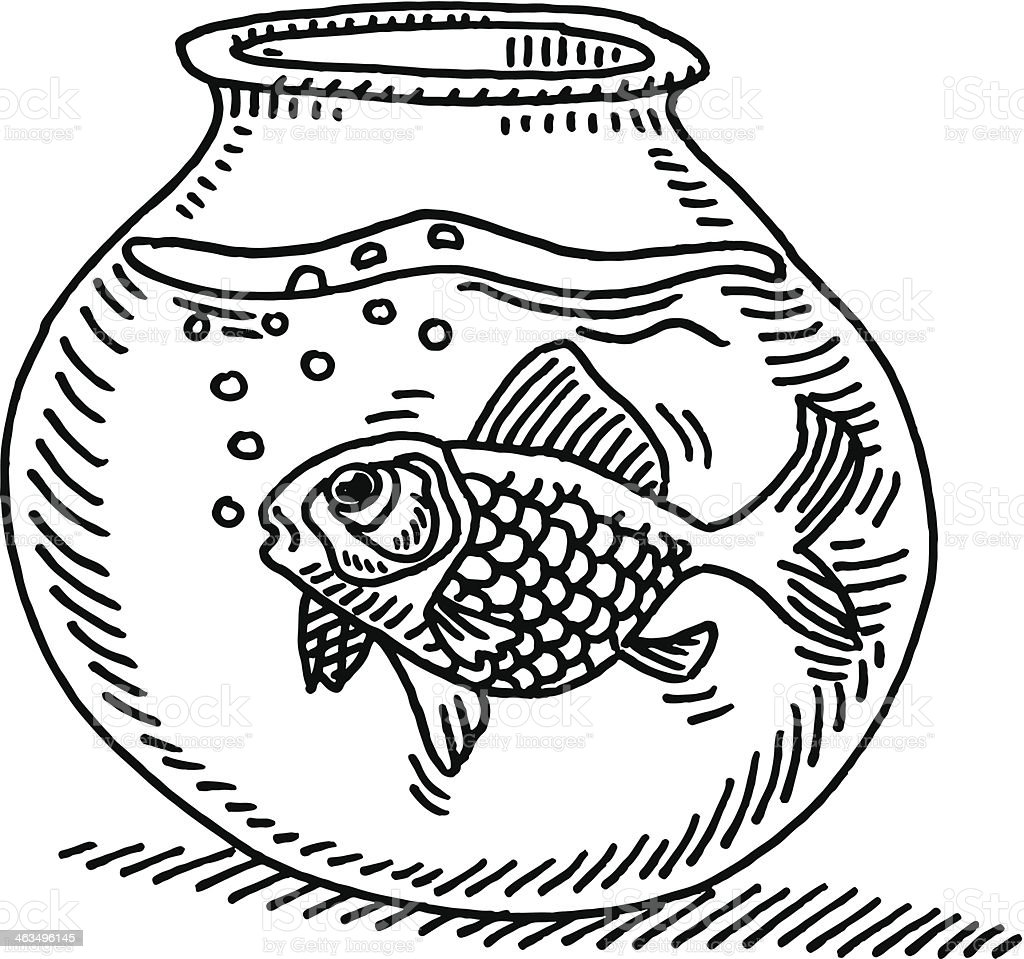 Gold Fish Bowl Water Drawing vector art illustration