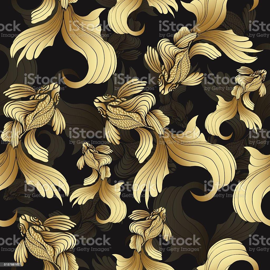 Gold fish, seamless pattern. Decorative abstract fish royalty-free stock vector art
