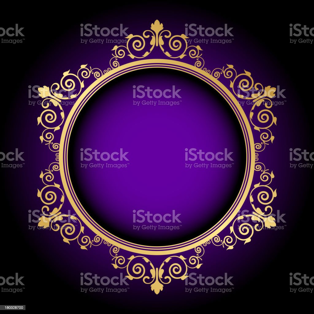 gold floral frame on purple background royalty-free stock vector art