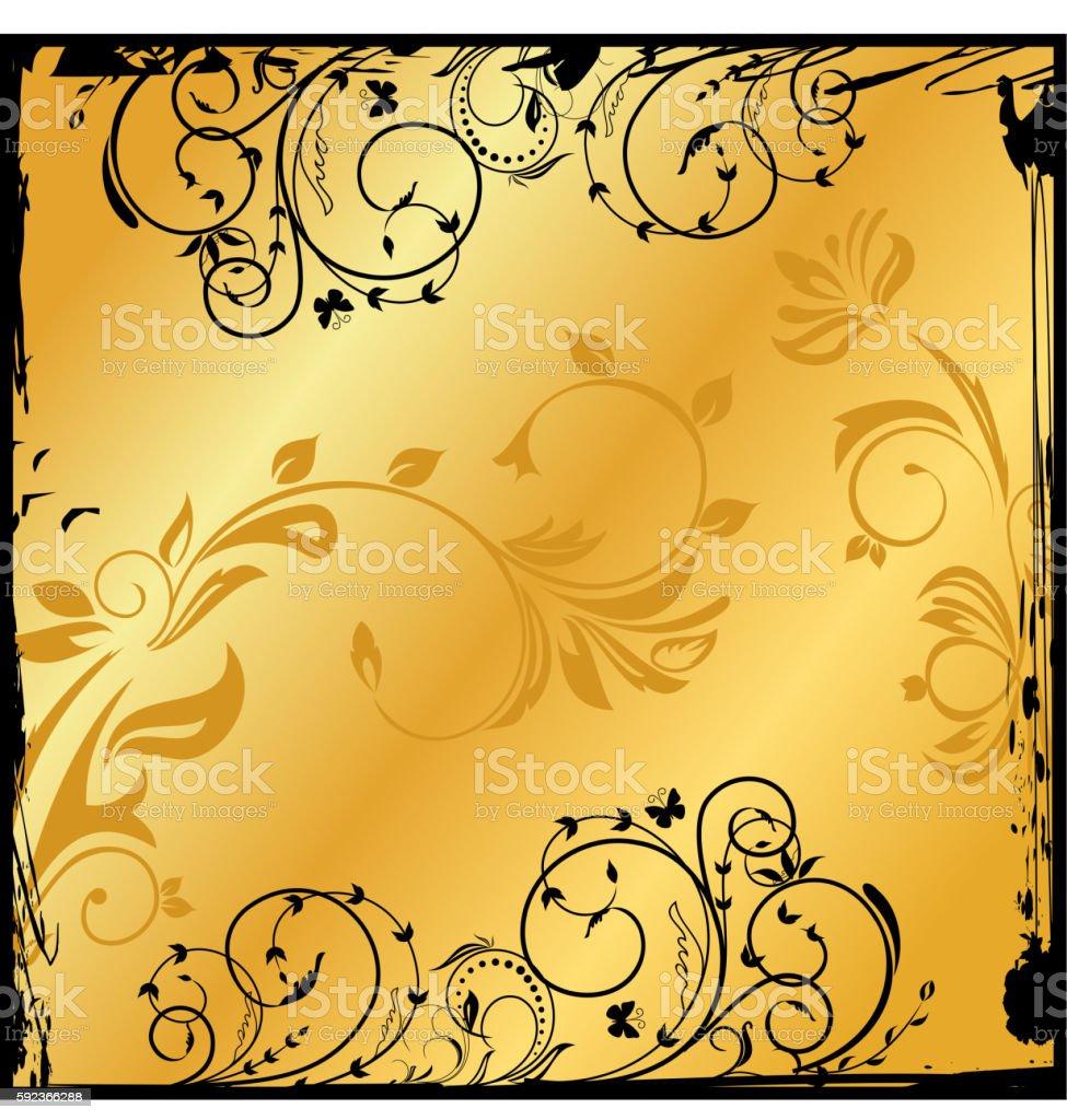 gold floral square vector art illustration