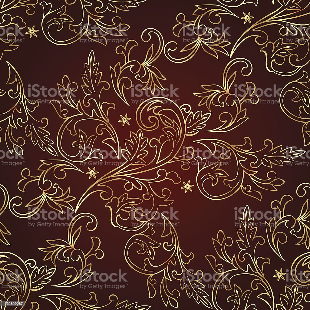 Gold floral vintage seamless pattern on red. Vector background royalty-free stock vector art