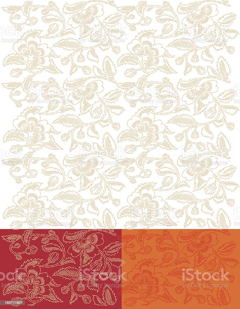 Gold Flower Backgroung Seamless Embroidered Pattern vector art illustration