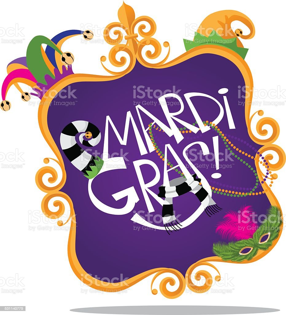 Gold frame Mardi Gras icon vector art illustration