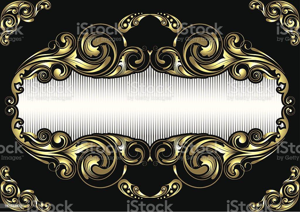 Gold frame on black background vector art illustration