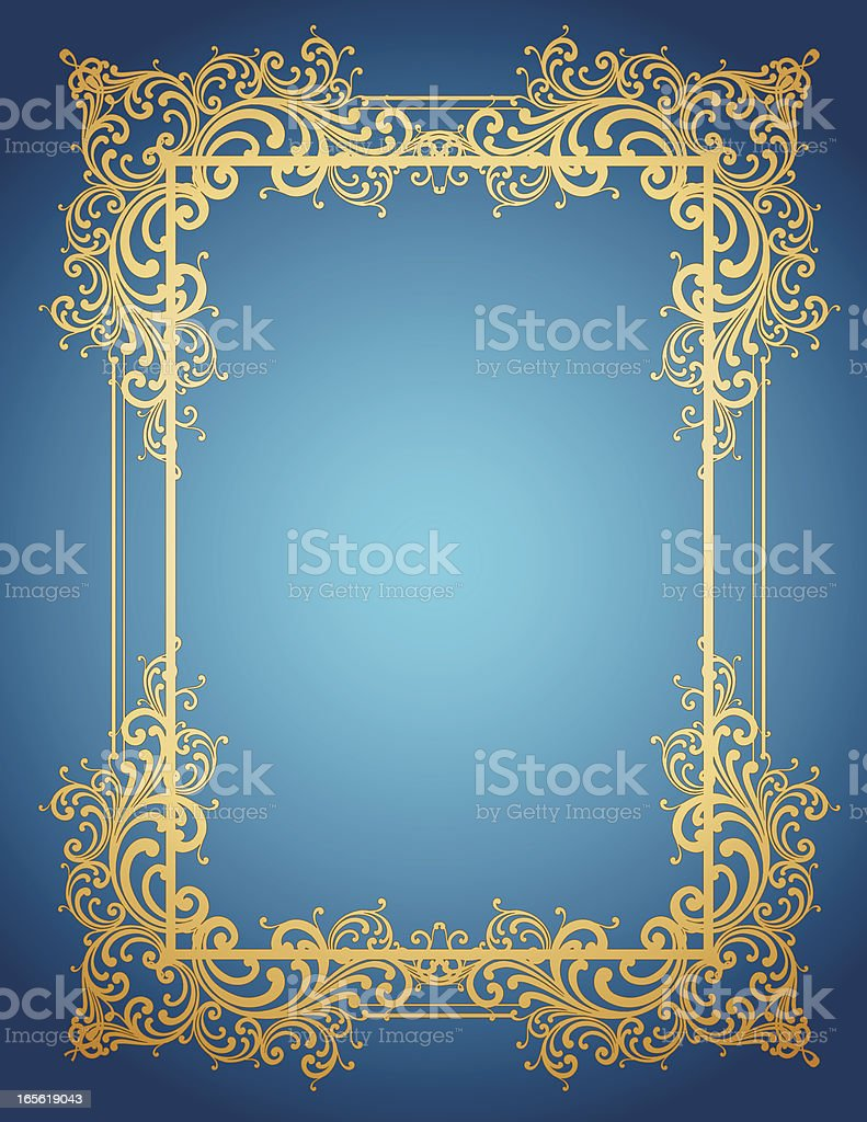 Gold Frame on Blue royalty-free stock vector art