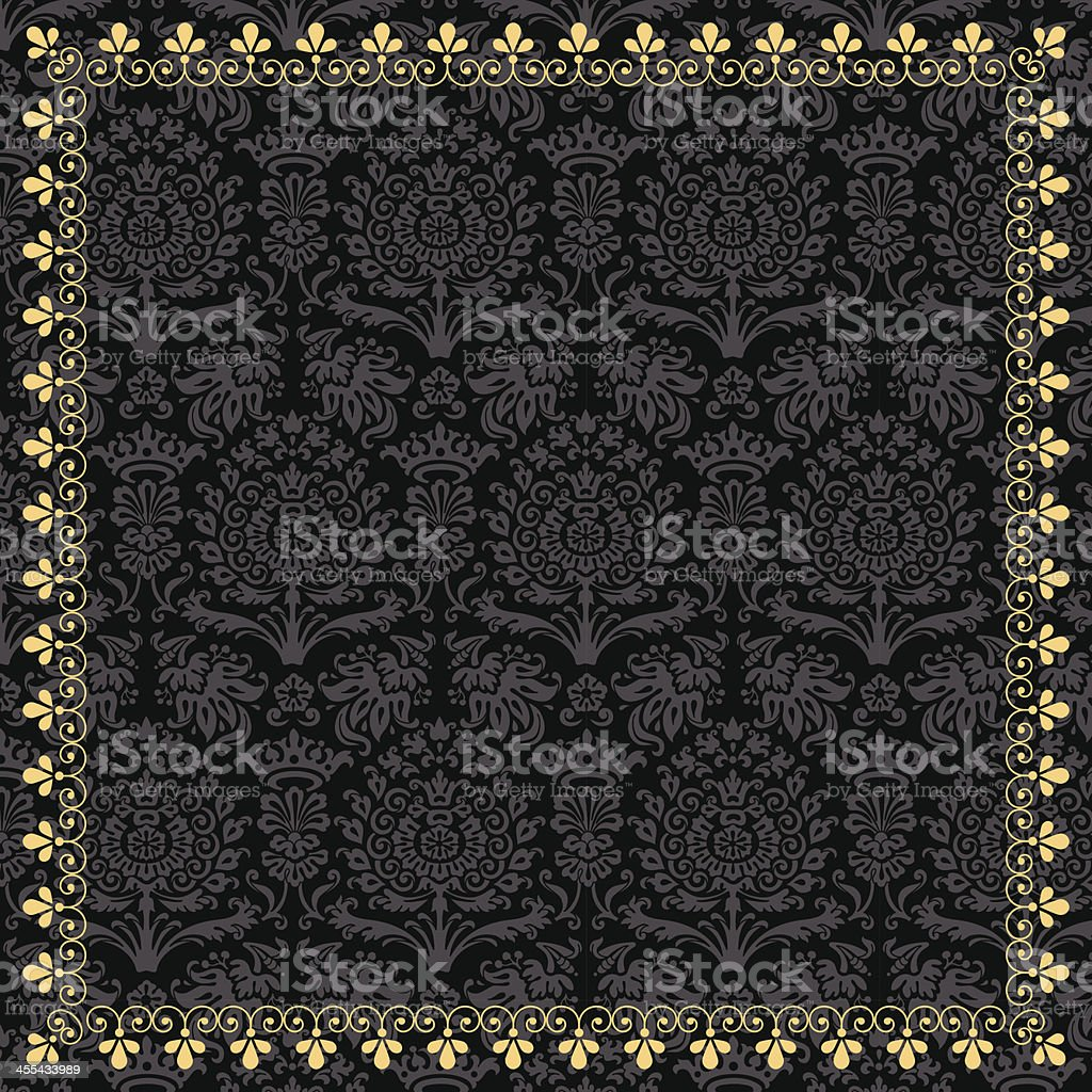 Gold Frame on Damask Background vector art illustration