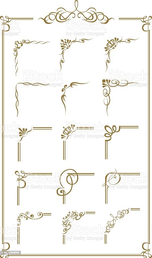 gold frame set Vector vector art illustration