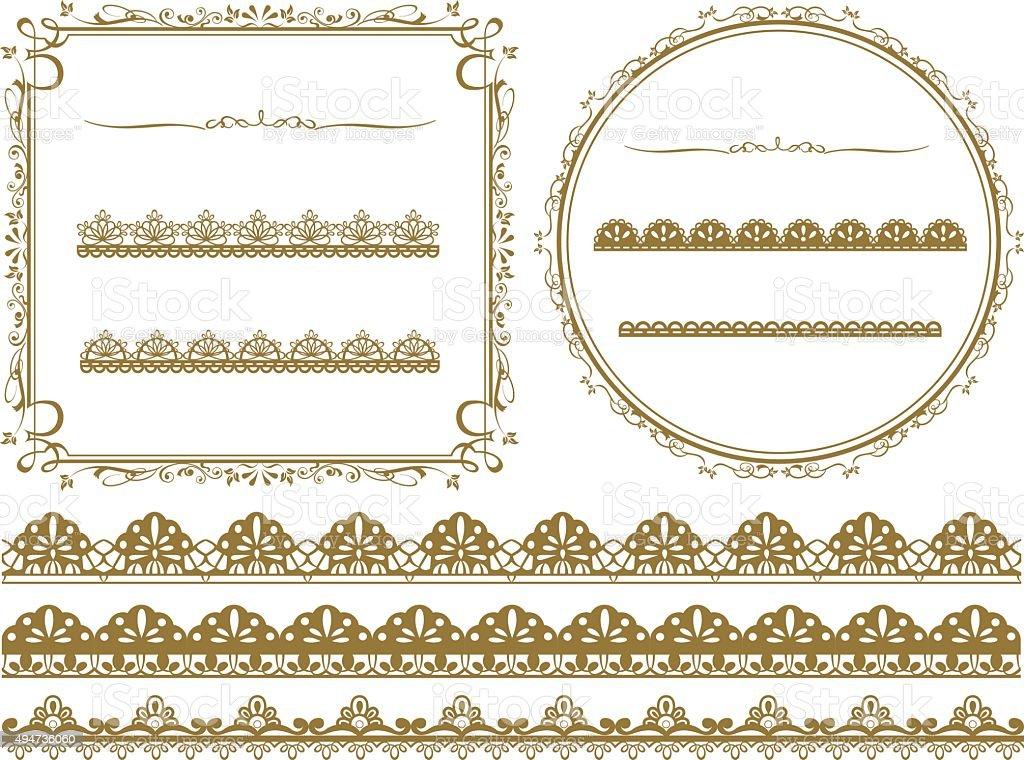 Gold frame set Vector vector art illustration