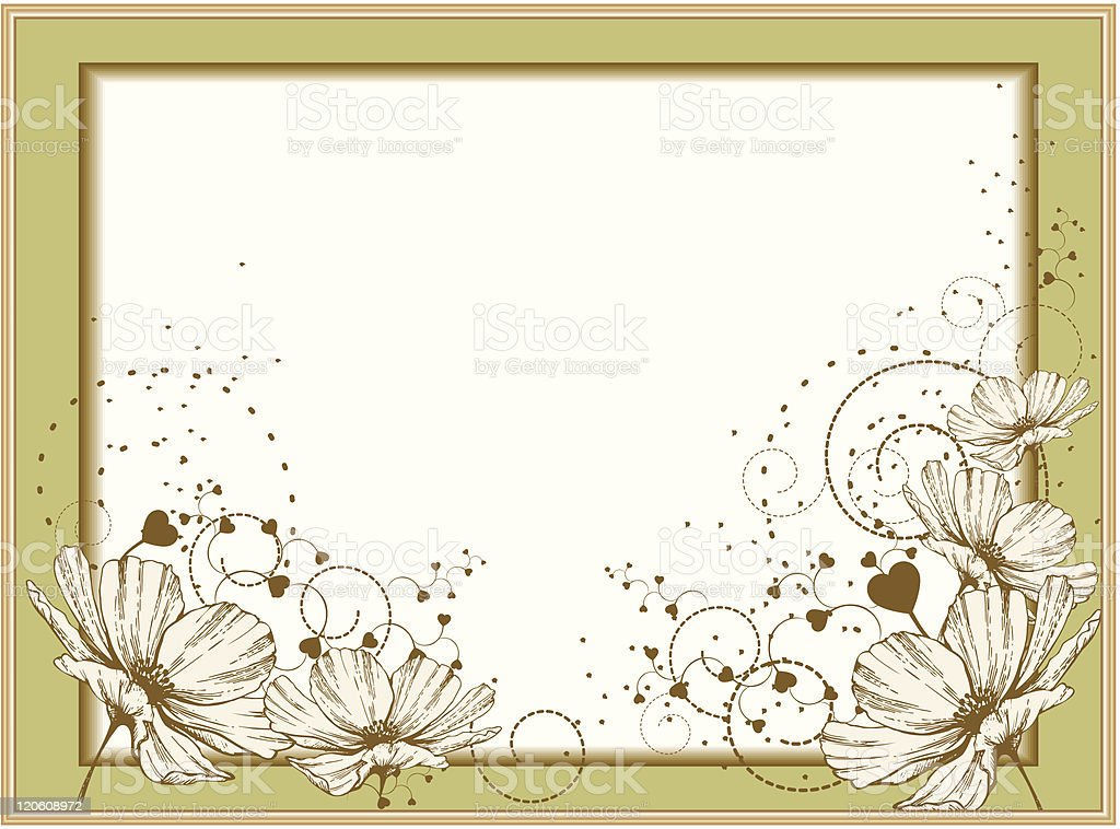 Gold frame with blooming flowers royalty-free stock vector art