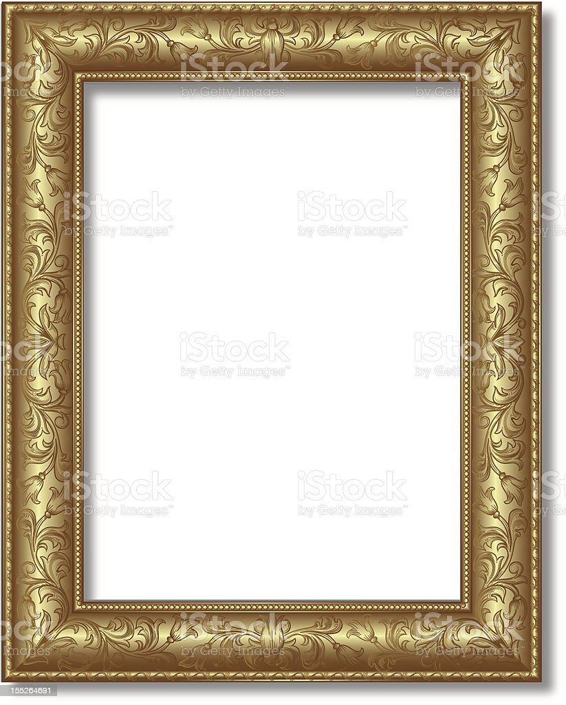 Gold frame with shiny exterior on white royalty-free stock vector art