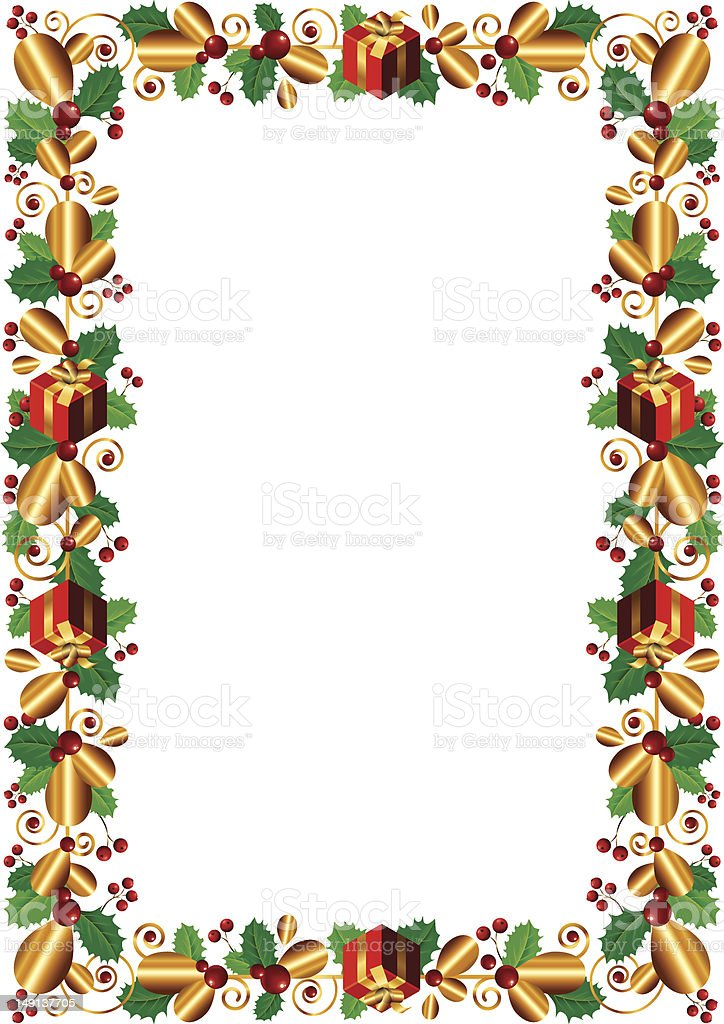 Gold garland with red gifts royalty-free stock vector art