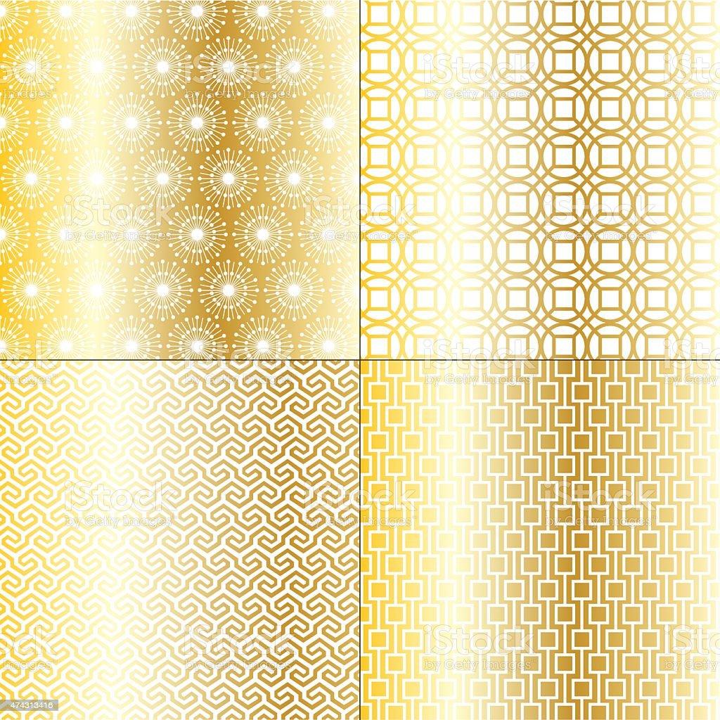 gold geometric patterns vector art illustration
