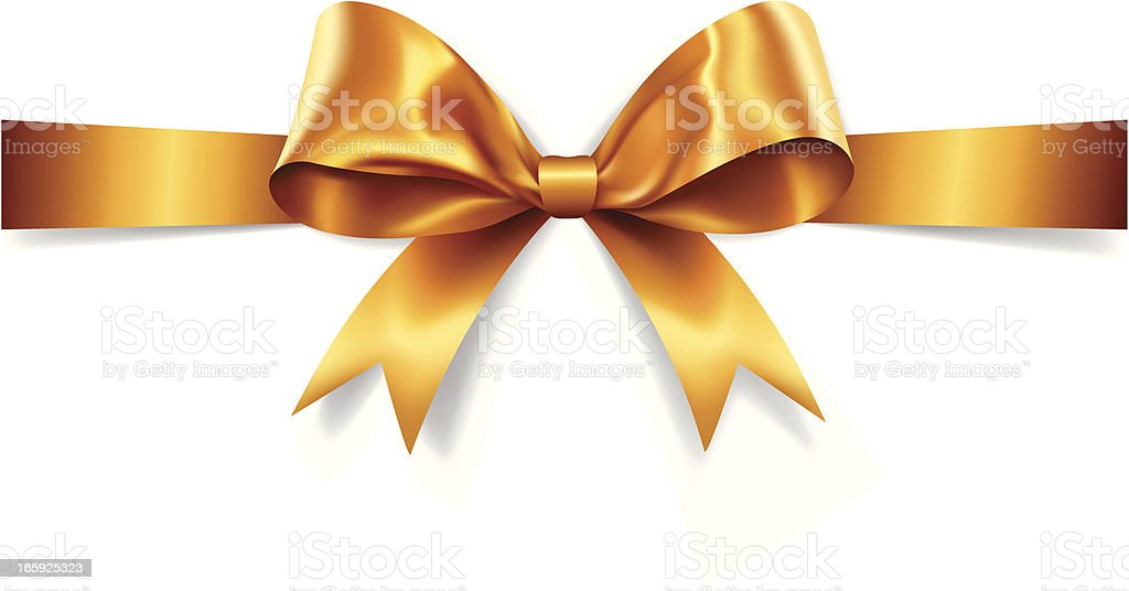 Gold Gift Bow (Vector) vector art illustration