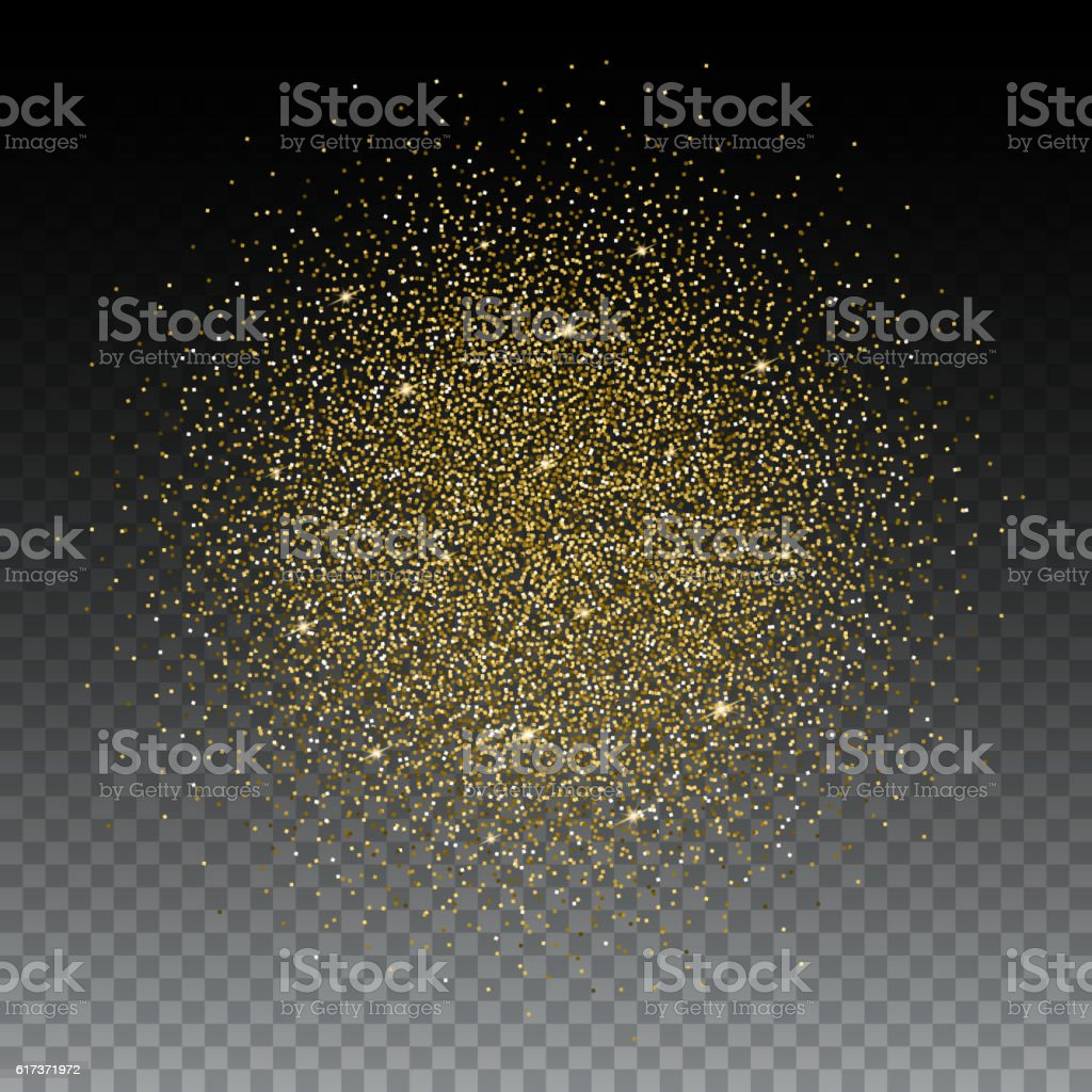 Gold glitter bright vector transparent background golden sparkles - Gold Glitter And Bright Sand Transparent Background Royalty Free Stock Vector Art