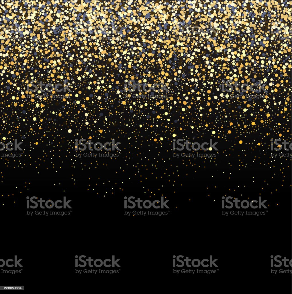Gold glitter black background. vector art illustration