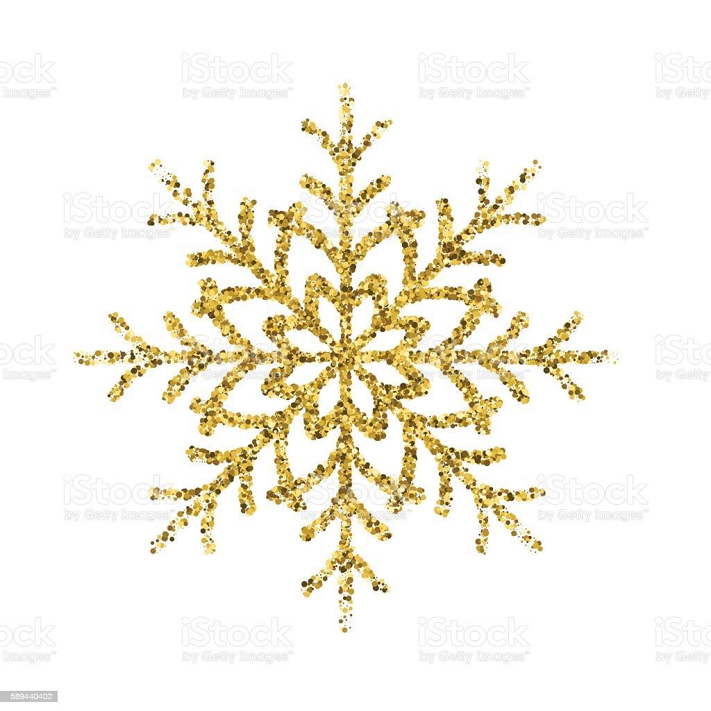 Gold Glitter Foil Christmas Ornament - Snowflake vector art illustration