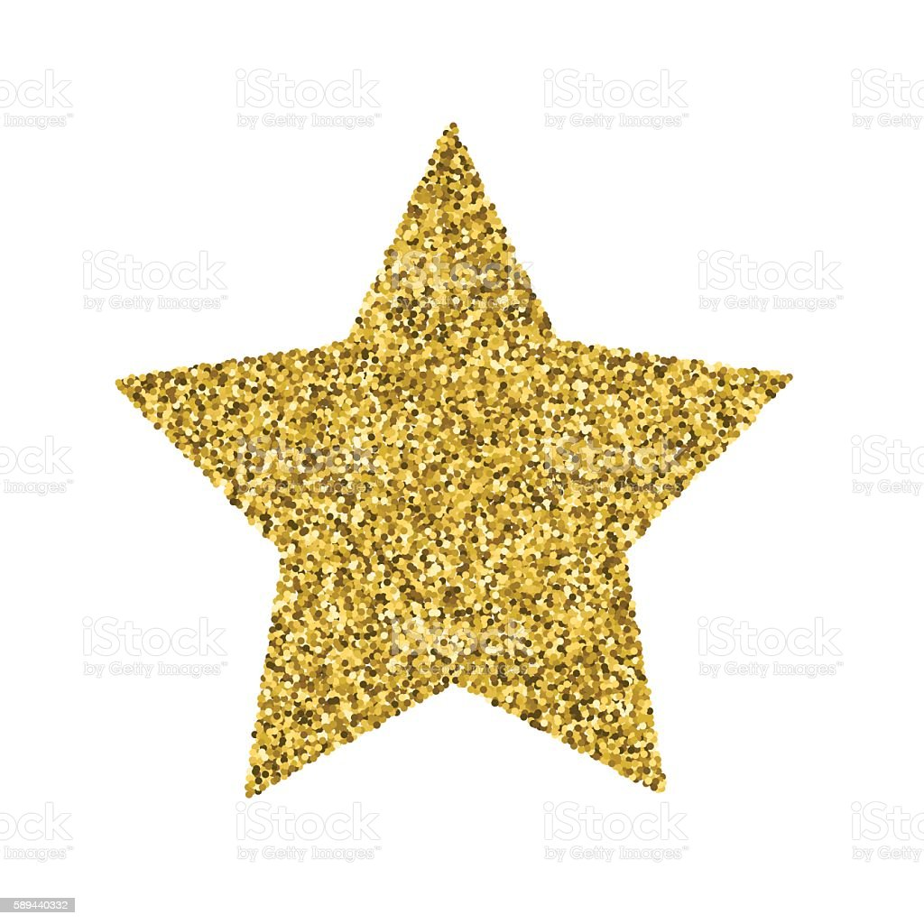 Gold Glitter Foil Christmas Ornament - Star vector art illustration