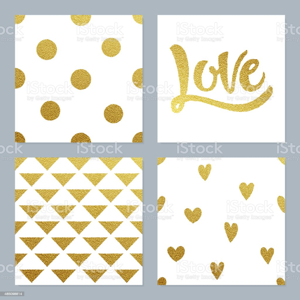 Gold glitter patterns set with various background and writing vector art illustration