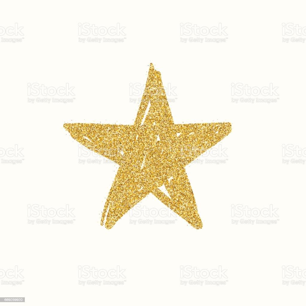 Gold glitter star vector art illustration