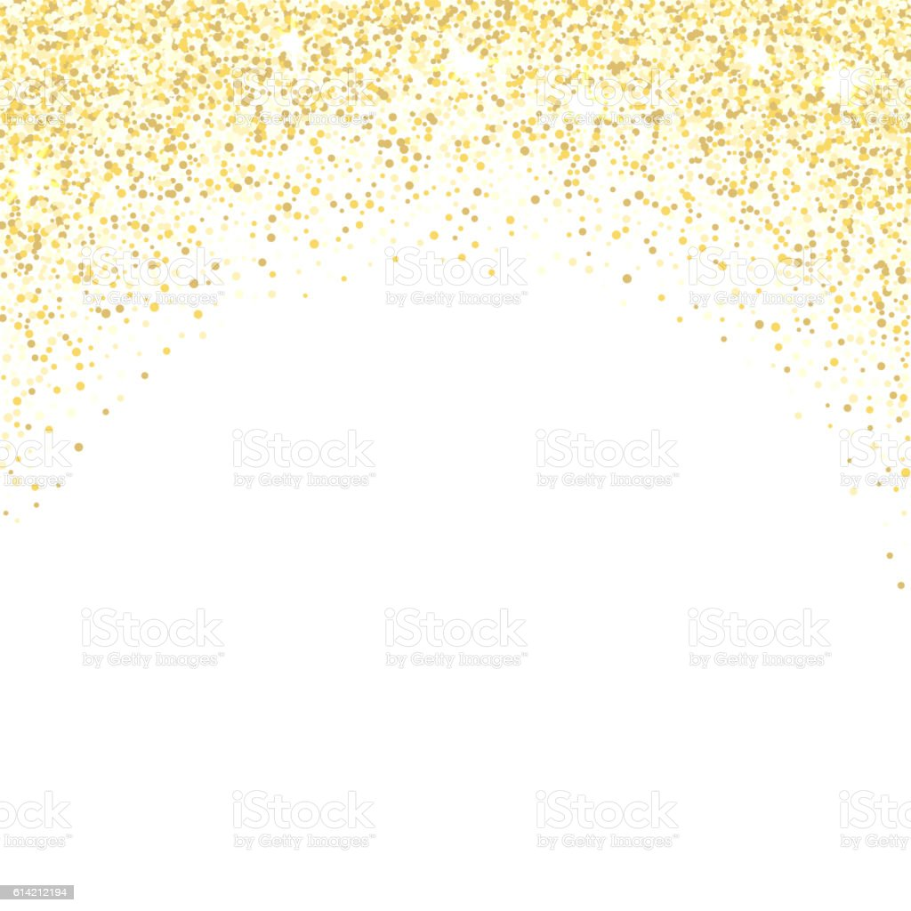 Gold glitter texture. Golden shiny sparkles on white background. vector art illustration