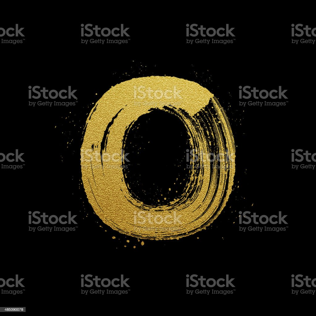 Gold glittering brush hand painted letter O vector art illustration