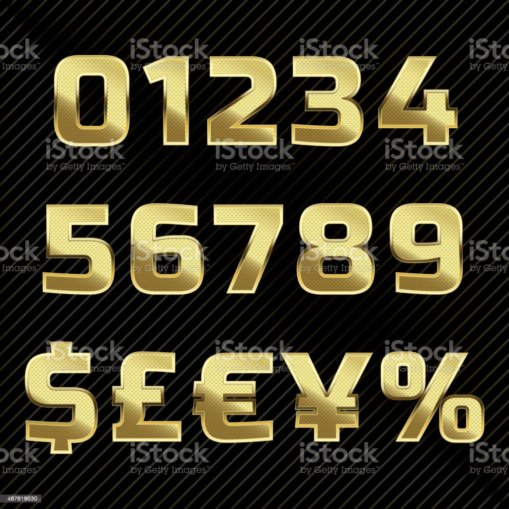 Gold glittering metal alphabet - numbers and symbols vector art illustration