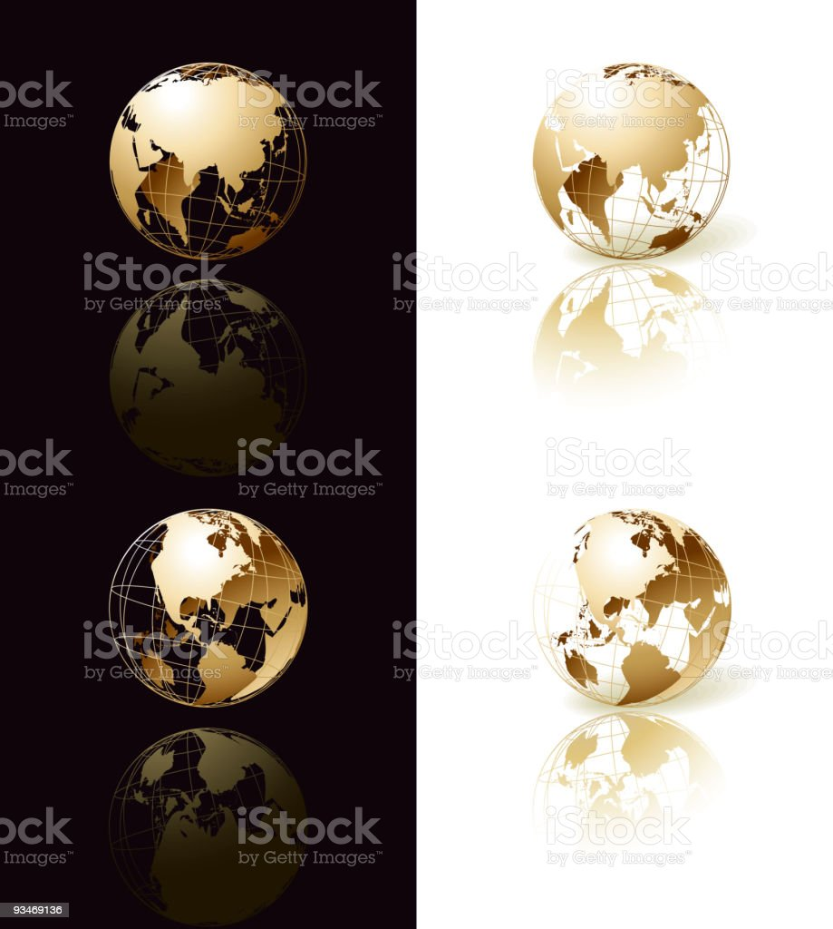Gold globe with shadow royalty-free stock vector art