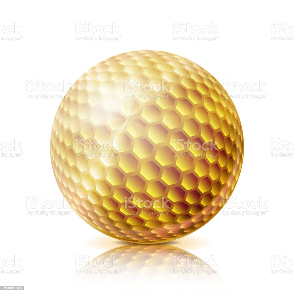 Gold Golf Ball. 3D Realistic Vector Illustration. Isolated On White Background vector art illustration