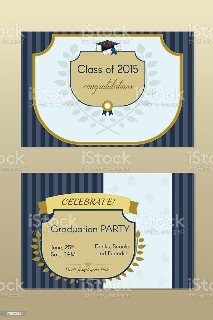 gold abschlussfeier einladung postkarte vintagezertifikat vektor, Einladungen