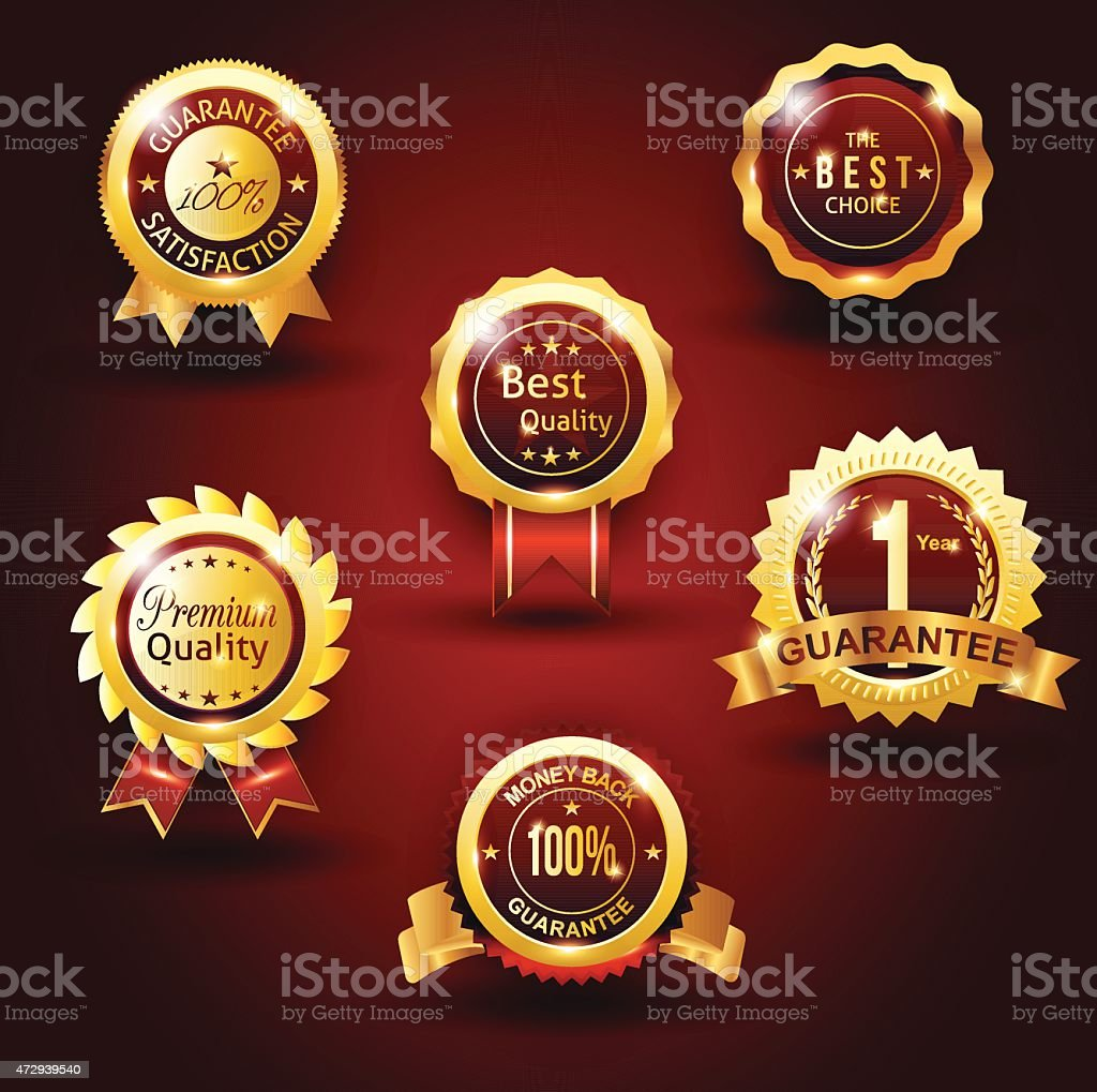 gold guarantee badge red background vector art illustration