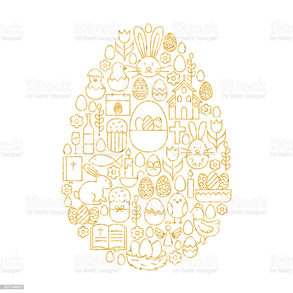 Gold Happy Easter Line Icons Set Egg Shape vector art illustration