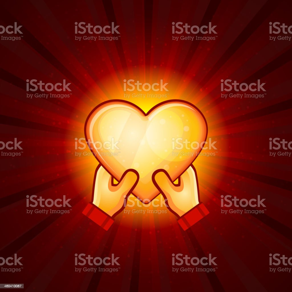 Gold Heart And Hands On Red Background royalty-free stock vector art