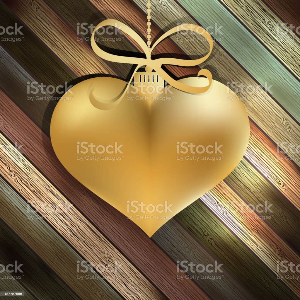 Gold heart on wooden background.  + EPS10 royalty-free stock vector art
