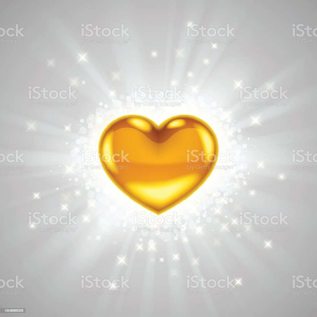 Gold heart with bright radiance vector art illustration