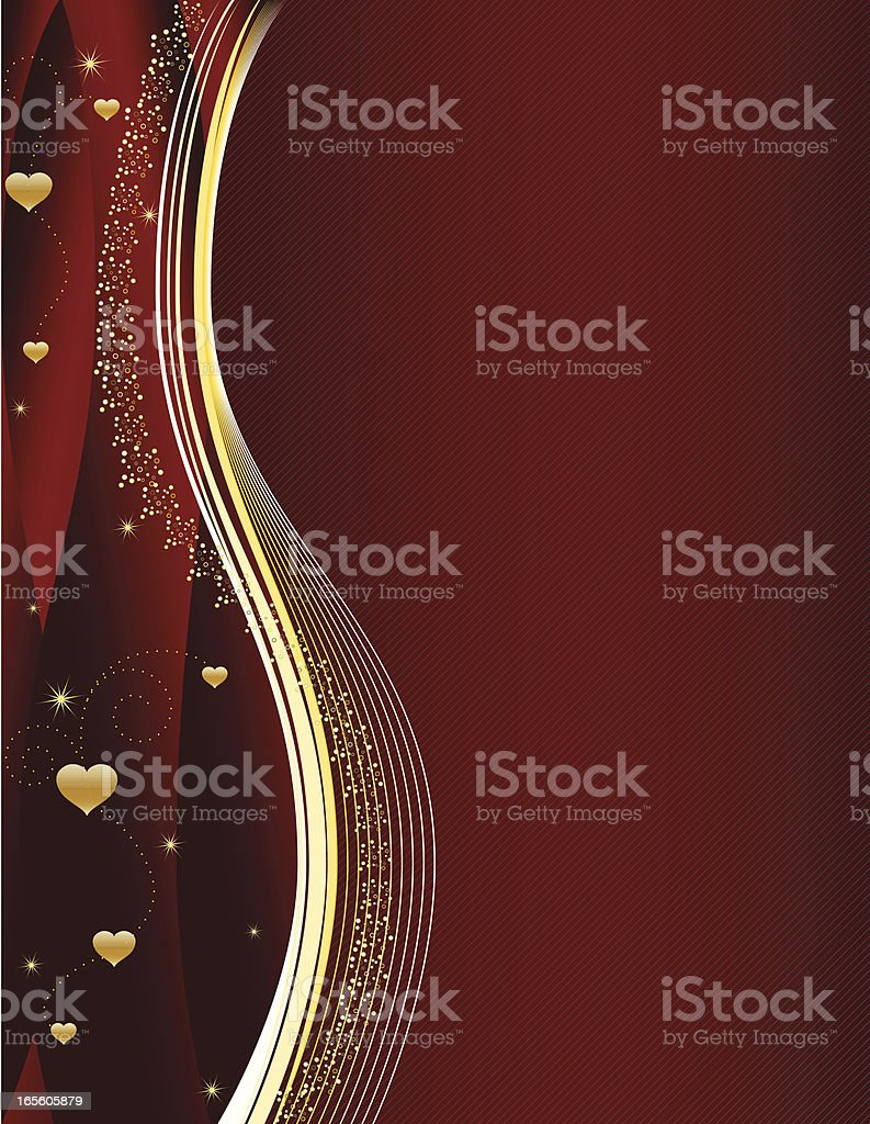 Gold Hearts and Swirls Design with Rich Red Background royalty-free stock vector art