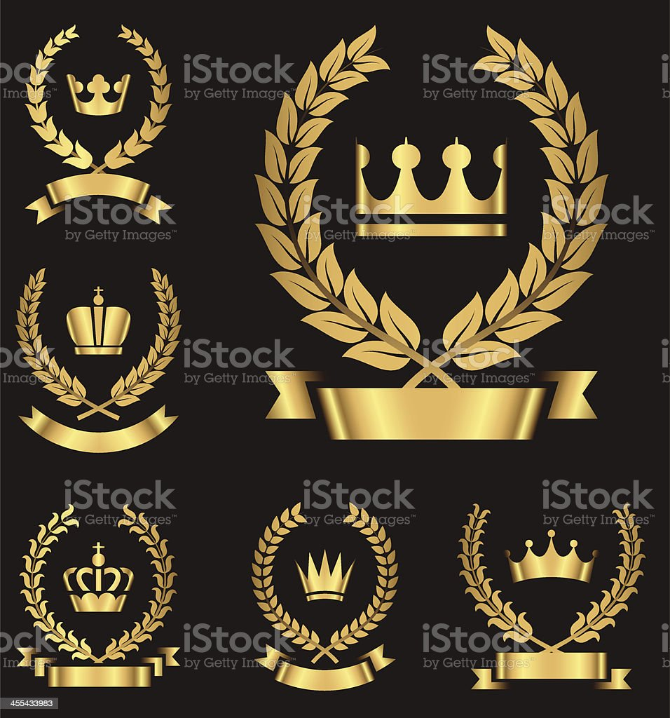 Gold Heraldry Emblems vector art illustration