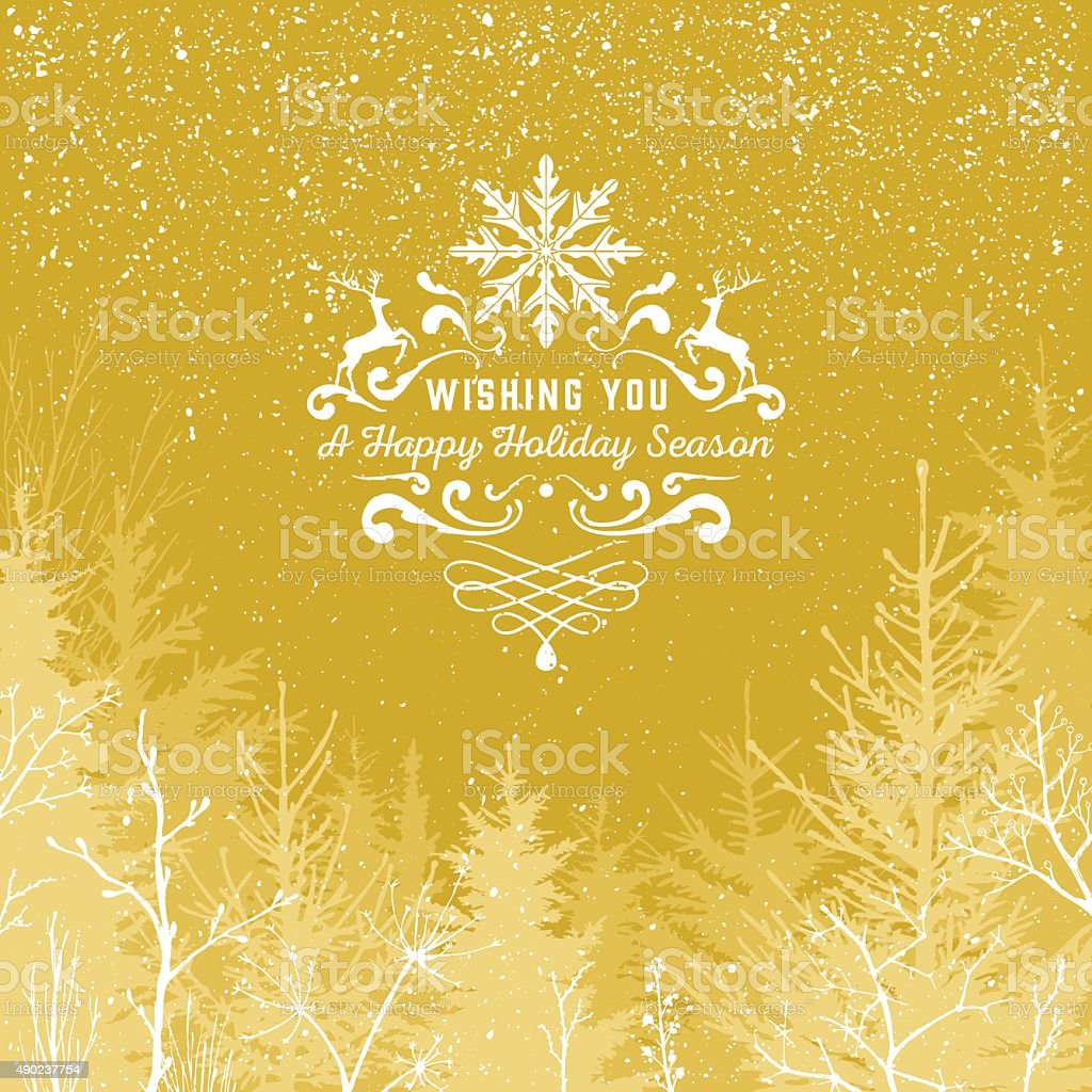 Gold Holiday season vector art illustration