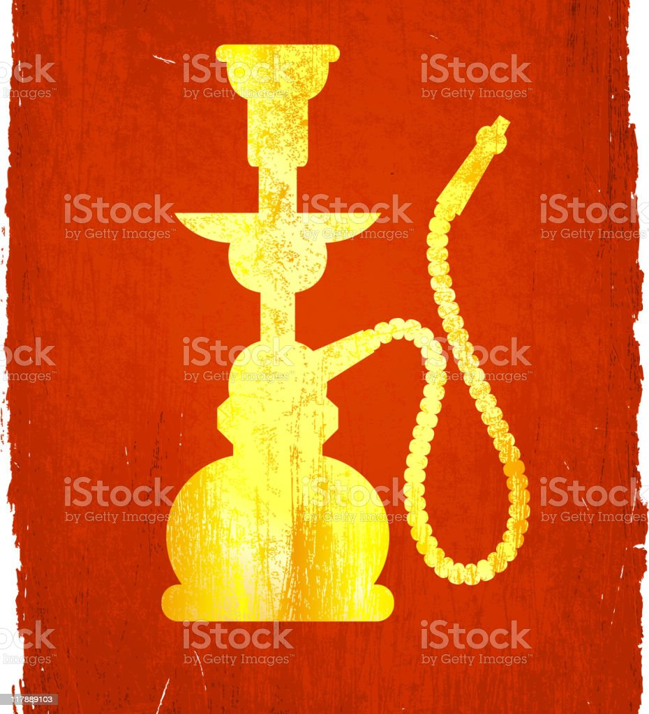 Gold Hookah illustration on a red background. royalty-free stock vector art