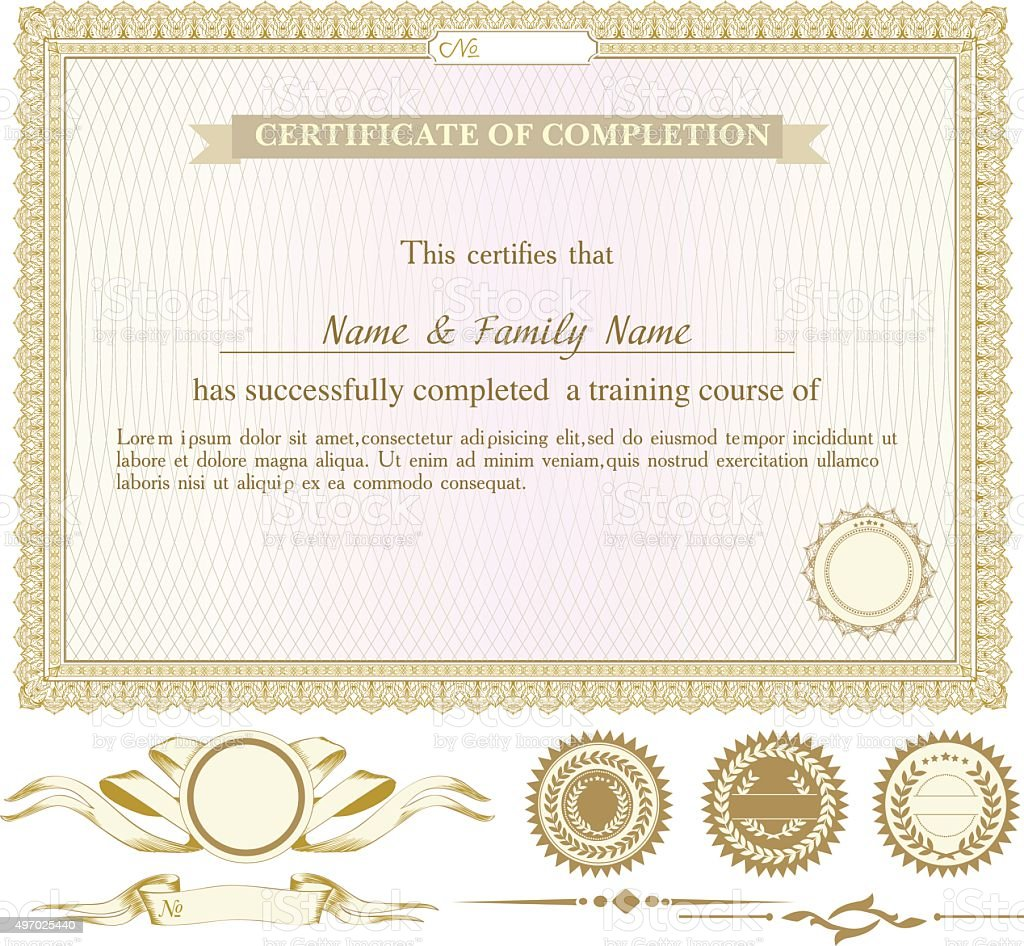 Gold horizontally certificate template with additional design elements vector art illustration