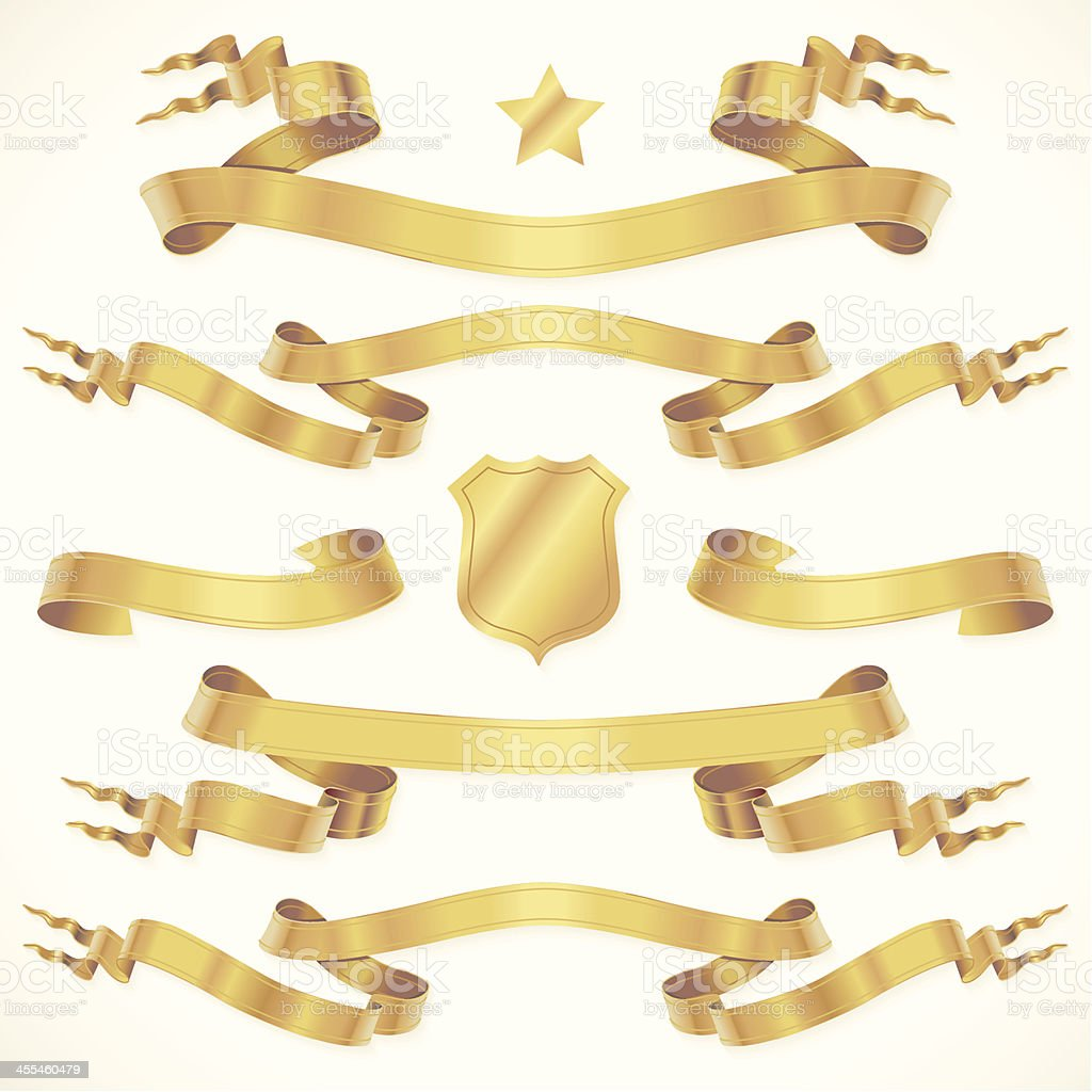 Gold In-lined fork tail banners vector art illustration