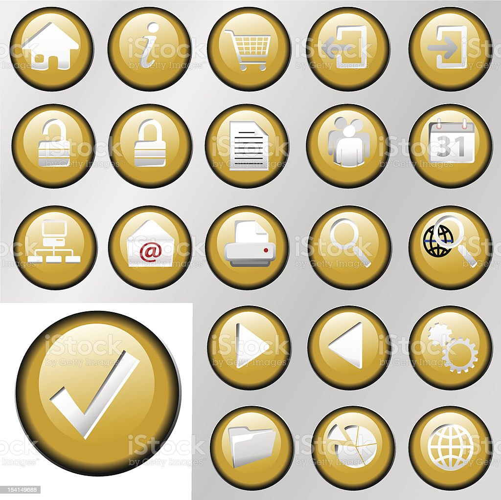 Gold Inset Control Button Icons royalty-free stock vector art