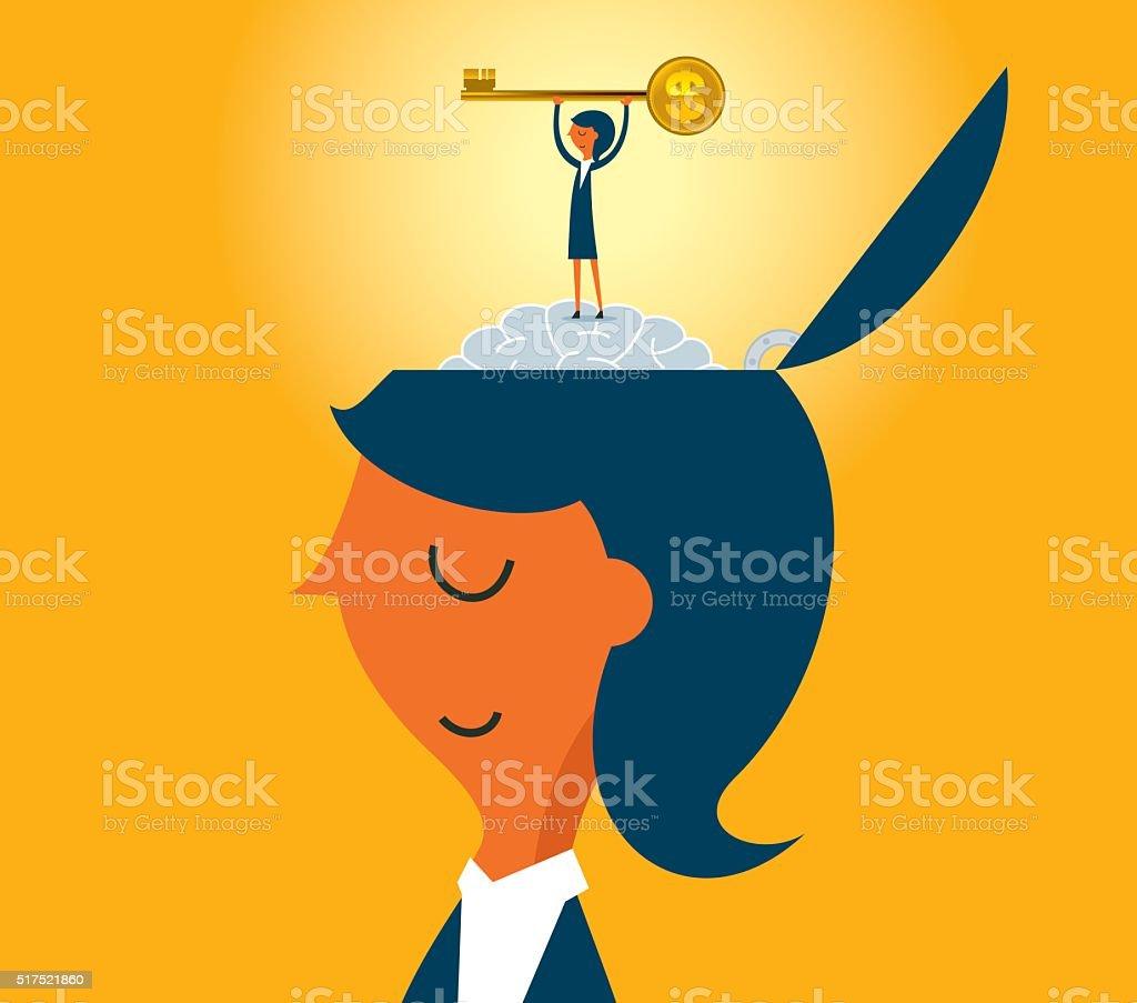 Gold Key vector art illustration