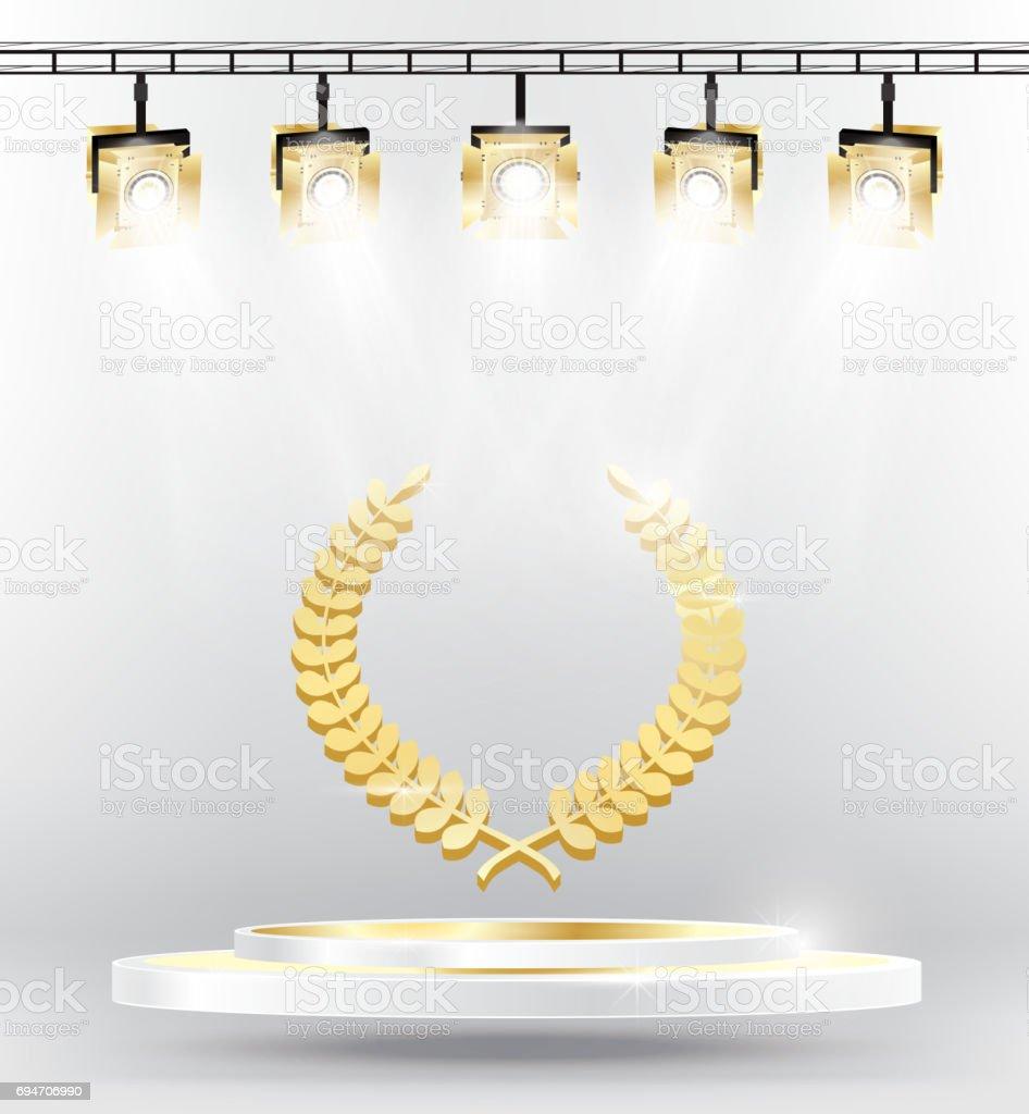 Gold Laurel Wreath on Podium with Spotlights. vector art illustration