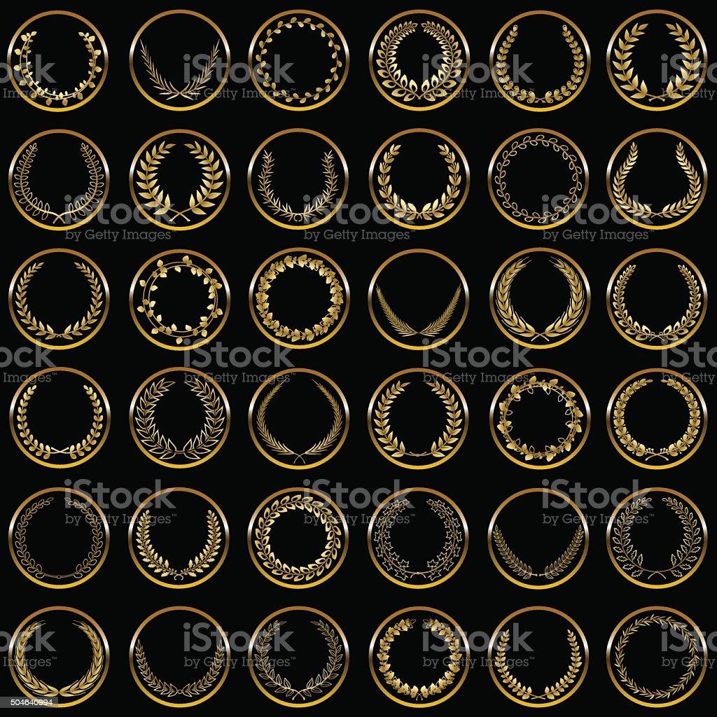 Gold laurel wreaths vector art illustration