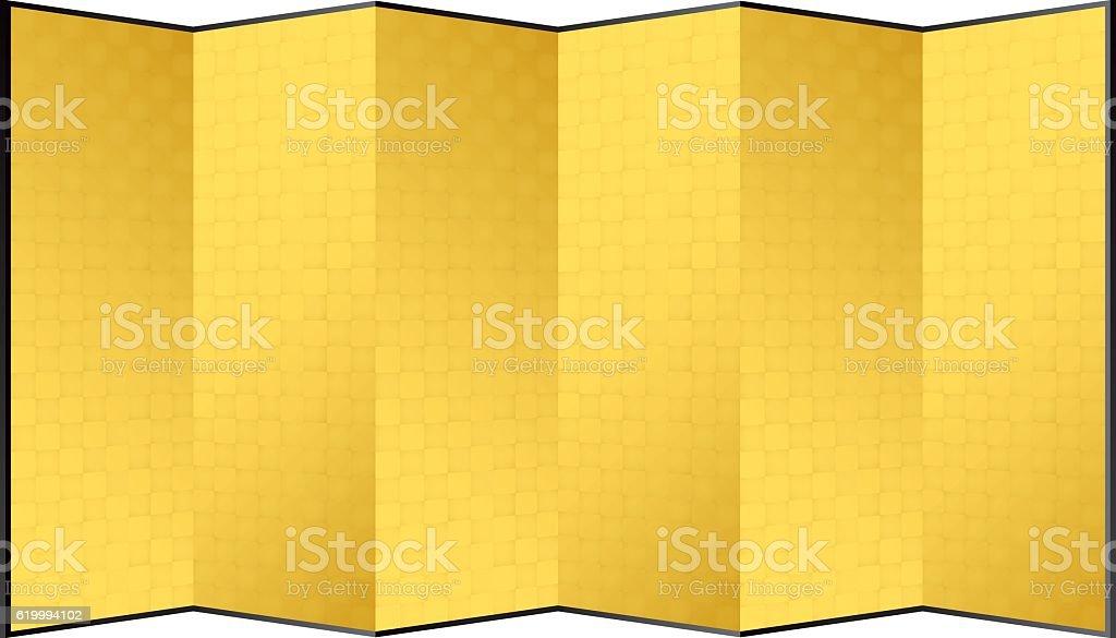 gold leaf folding screen. Japanese ceremony furniture. vector art illustration