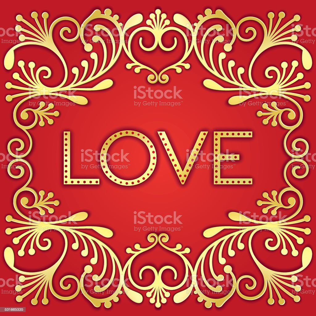Gold lettering word love vector art illustration