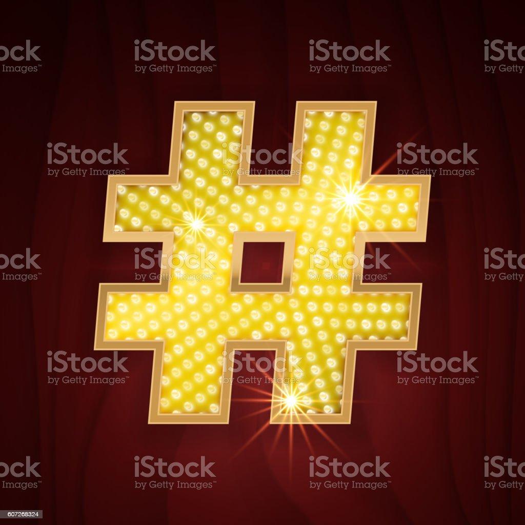 Gold light lamp bulb font symbol Hashtag vector art illustration