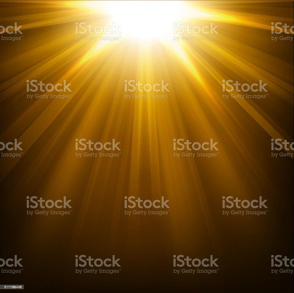 Gold lights shining background vector art illustration