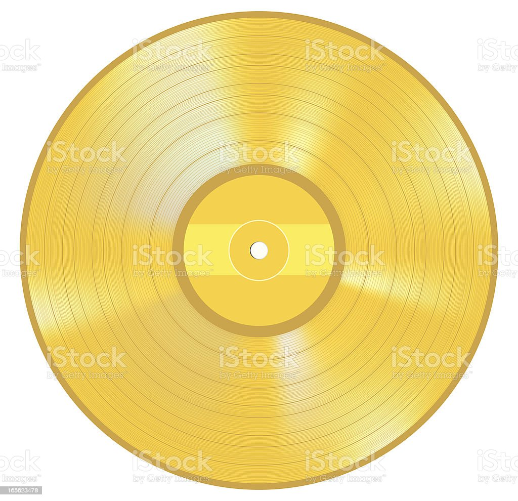 Gold LP Record royalty-free stock vector art